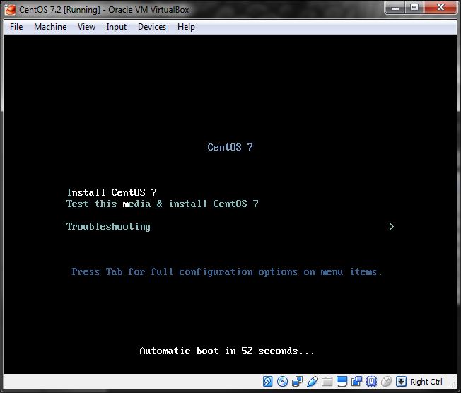 A CentOS virtual machine showing the grub boot menu during installation.