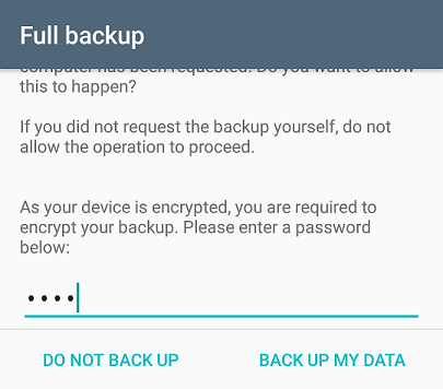 Screenshot showing the Android backup confirmation dialog