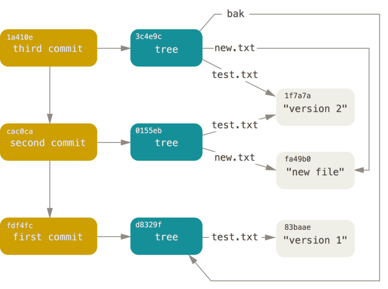 Git object diagram taken from Pro Git.