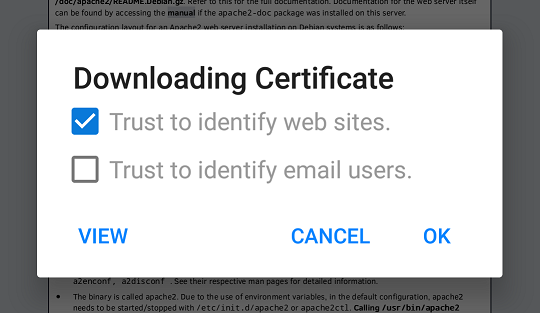Firefox importing a new certficate authority